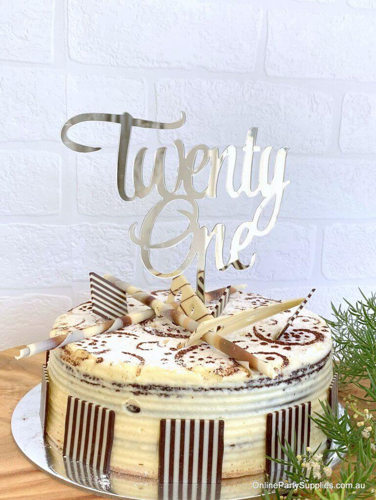 Acrylic Silver Mirror 'Twenty One' Cake Topper - 21st Birthday Party Cake Decorations