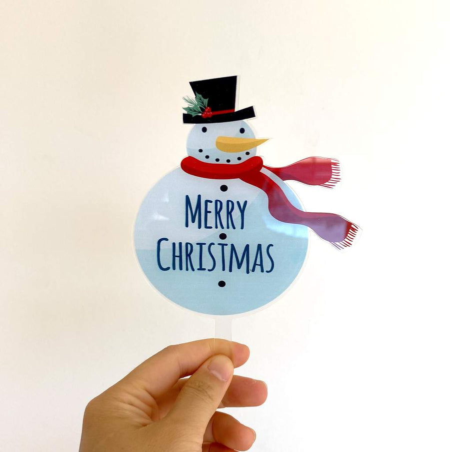 Acrylic Snowman Merry Christmas Cake Topper