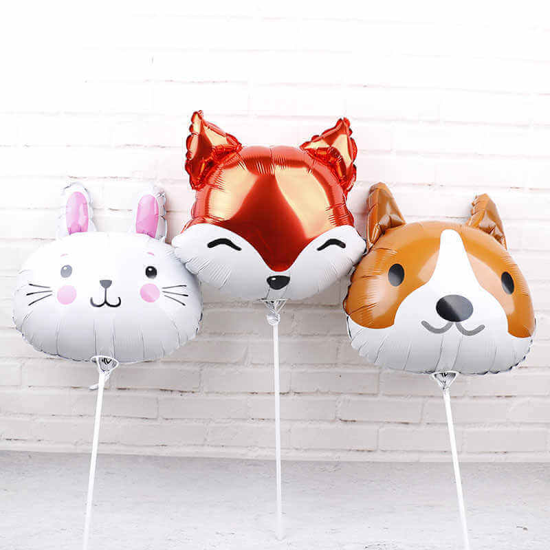 "18"" Online Party Supplies Woodland Red Fox Animal Head Shaped Foil Balloon for Animal Theme Party Decorations"