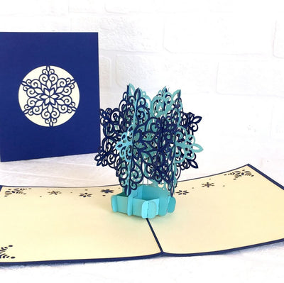Handmade Aqua & Navy Blue Snowflake Pop Up Card - Pop Up Christmas Cards