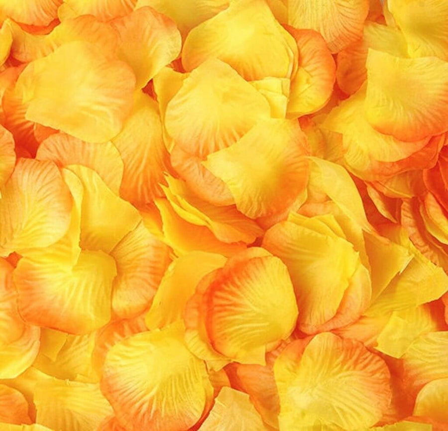Artificial Yellow & Orange Silk Rose Petals