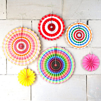 Colourful Hanging Paper Fan Decorations (Set of 6)