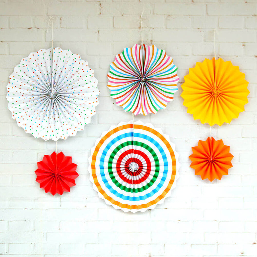 Multicoloured Hanging Paper Fan Decorations (Set of 6)