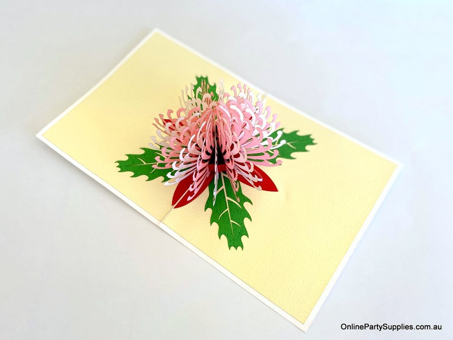 Handmade Australian Native Flower White Pink Waratah Pop Up Greeting Card