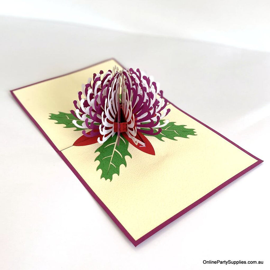 Online Party Supplies Australian Native Flower Purple White Waratah Pop Up Greeting Birthday Mother's Day Card