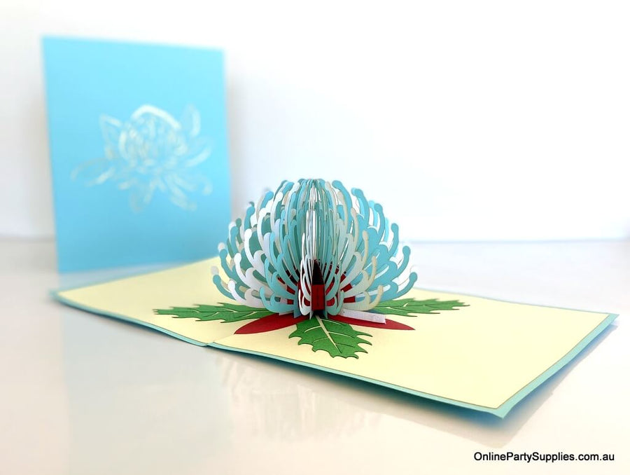 Handmade Australian Native Australian Native flora White blue Waratah flower Pop Up Greeting Card