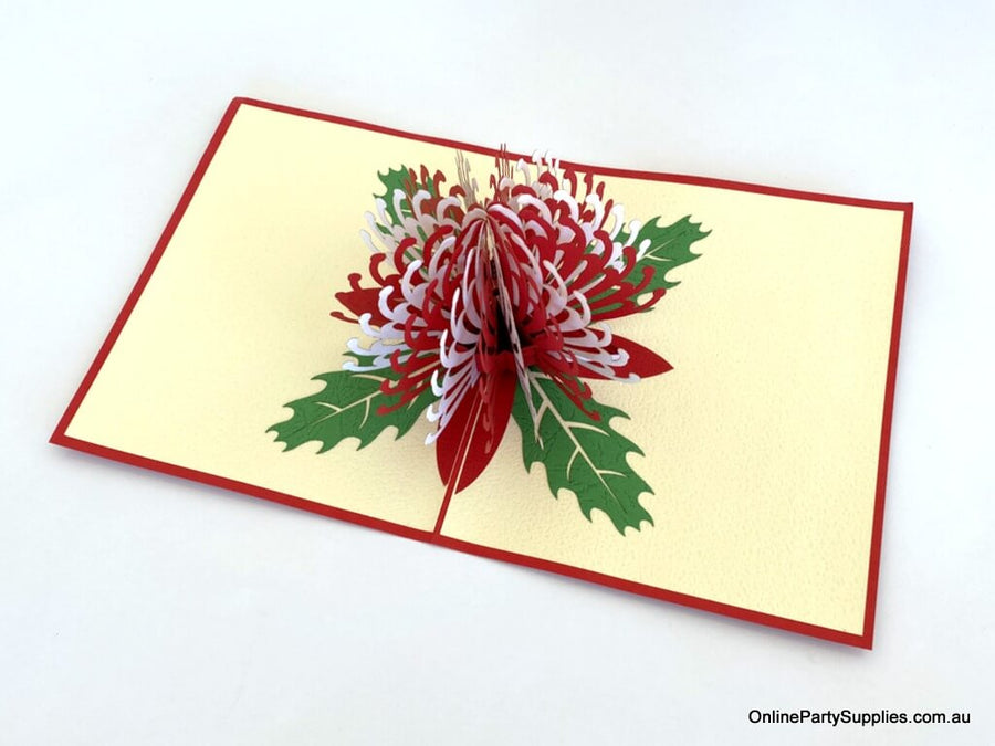 Handmade Australian Native Australian Native flora White Red Waratah flower Pop Up Greeting Card