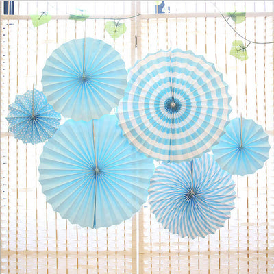 Baby Blue Hanging Paper Fan Decorations (Set of 6)