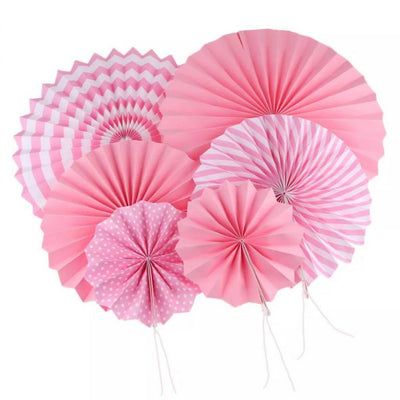 Baby Pink Hanging Paper Fan Decorations (Set of 6)