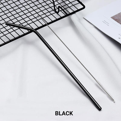 Bent Black Stainless Steel Drinking Straw 210mm x 6mm - Online Party Supplies
