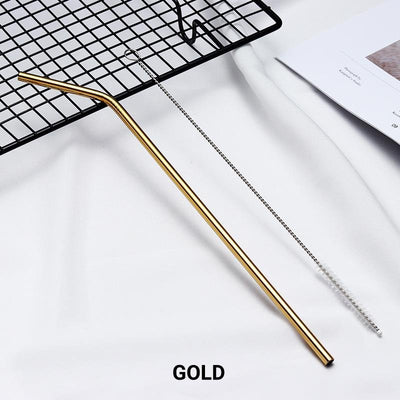 Bent Gold Stainless Steel Drinking Straw 210mm x 6mm - Online Party Supplies