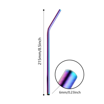 Bent Iridescent Rainbow Stainless Steel Drinking Straw 210mm x 6mm - Online Party Supplies