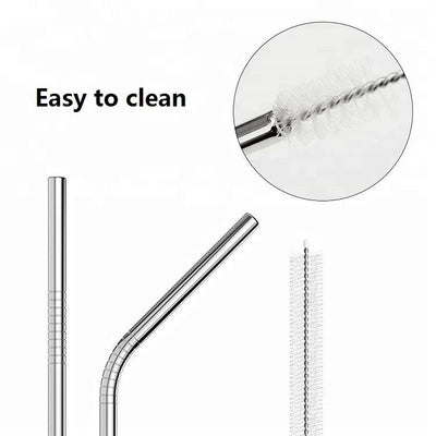 Bent Silver Stainless Steel Drinking Straw 210mm x 6mm - Online Party Supplies