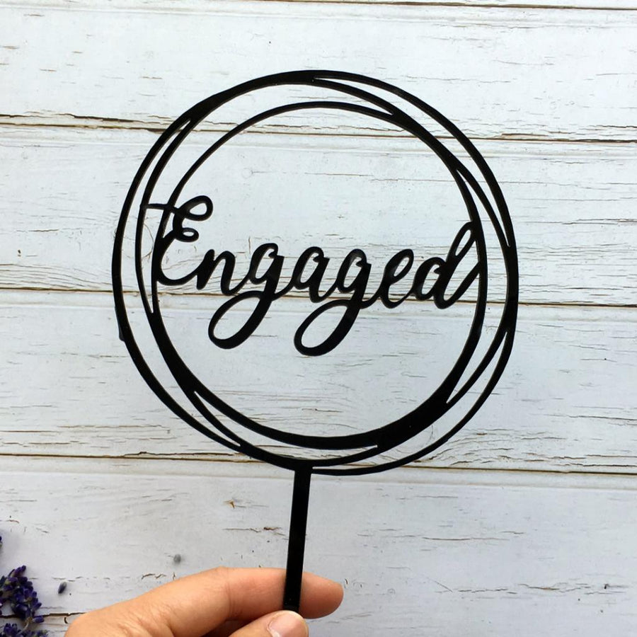 Black Acrylic 'Engaged' Geometric Round Cake Topper