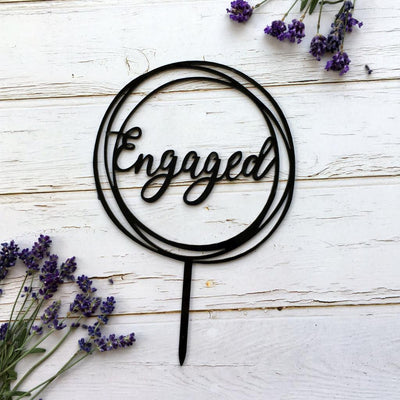 Black Acrylic 'Engaged' Geometric Round Cake Topper - Online Party Supplies