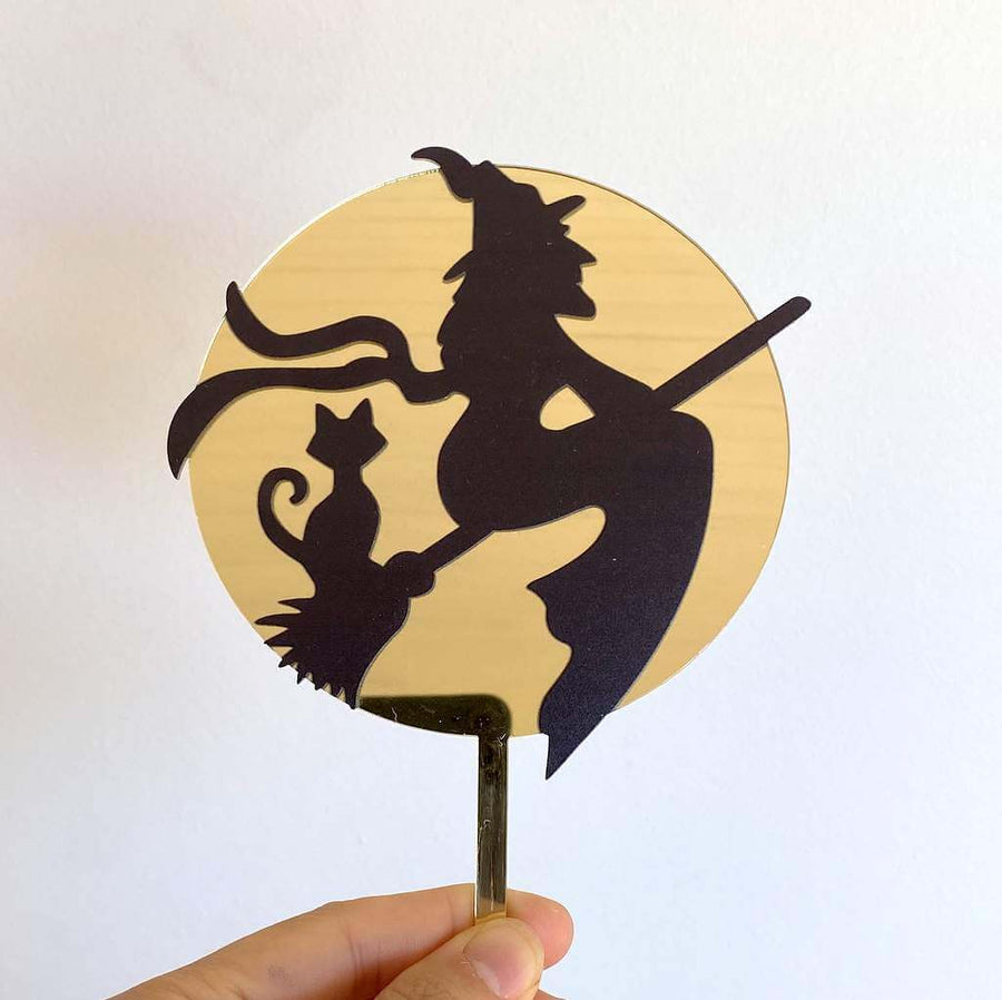 Acrylic Black Flying Witch Over the Moon with Cat Cake Topper