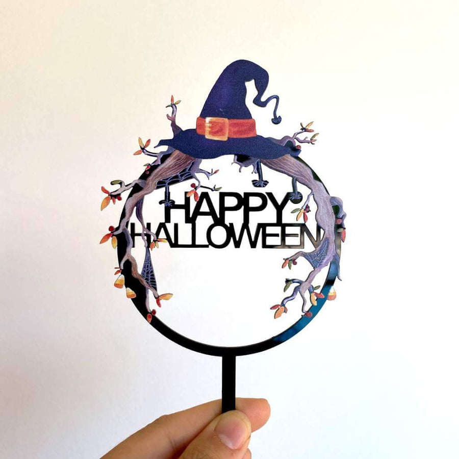 Acrylic Black Happy Halloween Witch Hat Cake Topper
