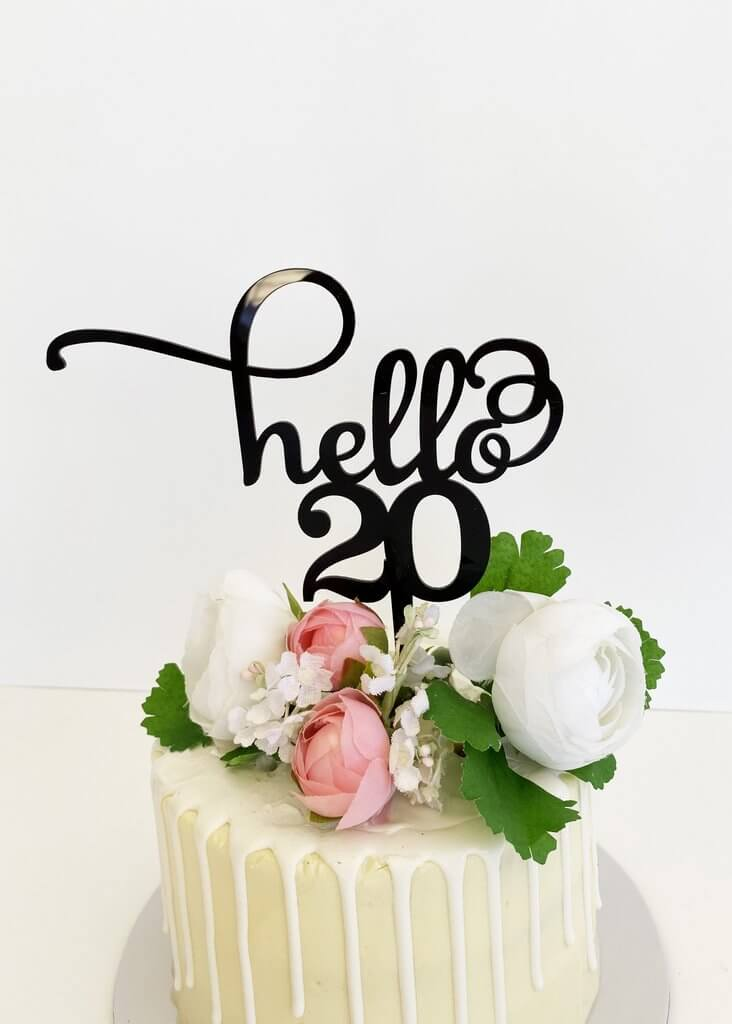 Black Acrylic Hello 20 Birthday Cake Topper