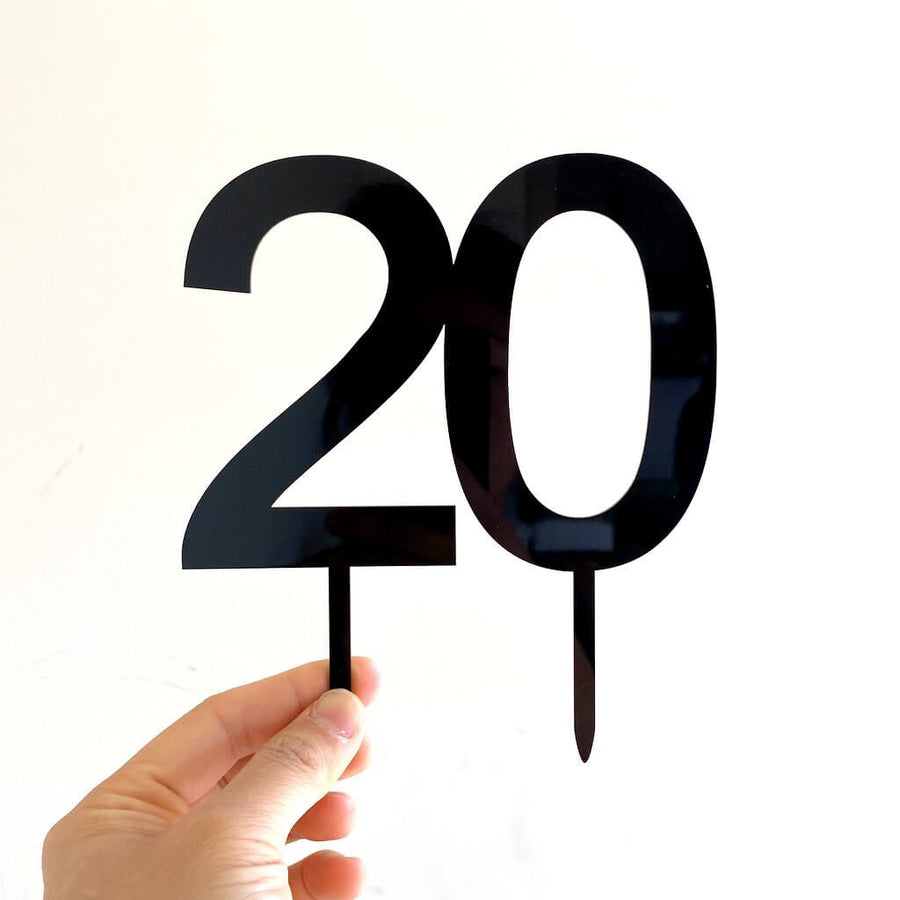 Acrylic Black Number 20 Cake Topper