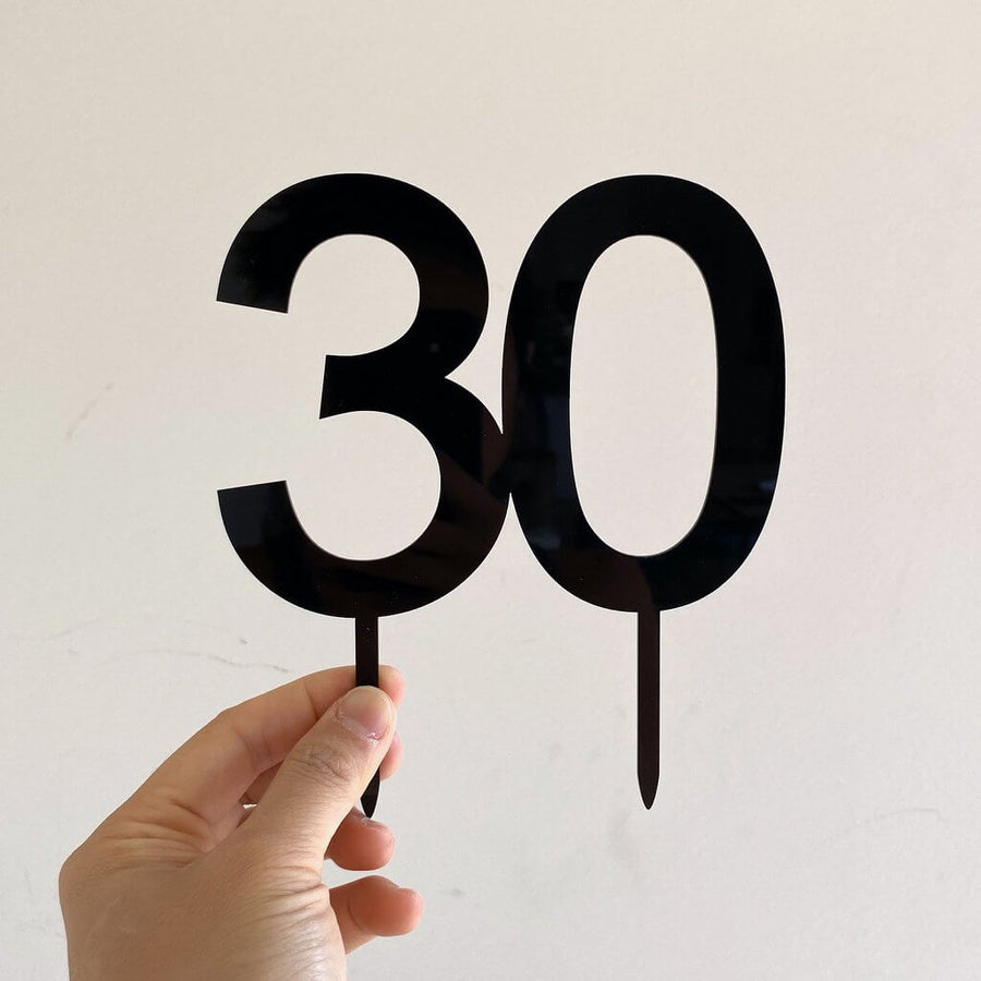 Acrylic Black Number 30 Cake Topper
