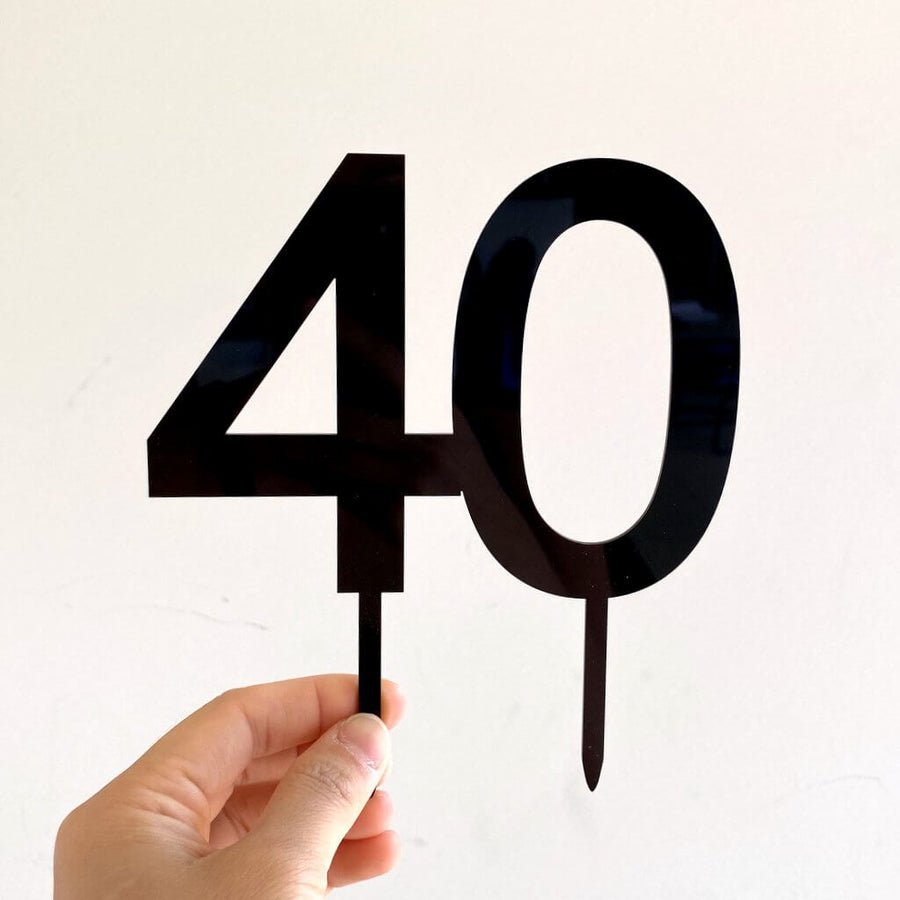 Acrylic Black Number 40 Cake Topper