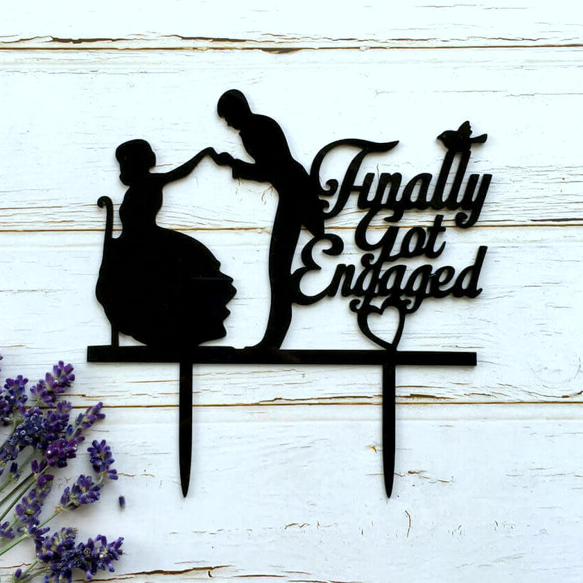 Silhouette 'Finally Got Engaged' Wedding Couple Cake Topper