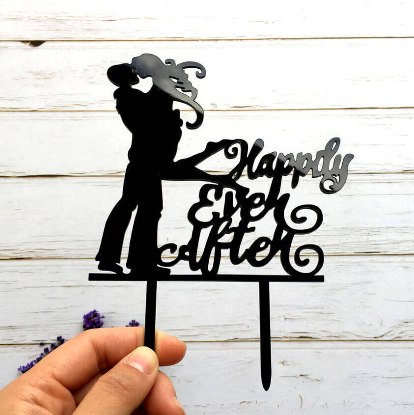 Black Acrylic 'Happily Ever After' Couple Wedding Engagement Bridal Shower Cake Topper