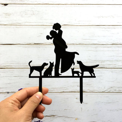 Black Acrylic Couple With Cats and Dogs Wedding Engagement Cake Topper