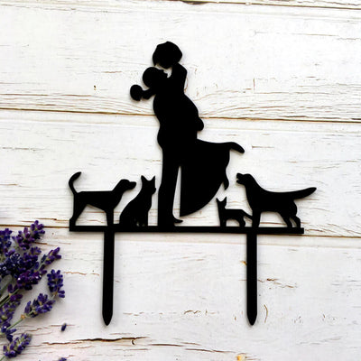 Silhouette Couple With Cats and Dogs Wedding Engagement Cake Topper
