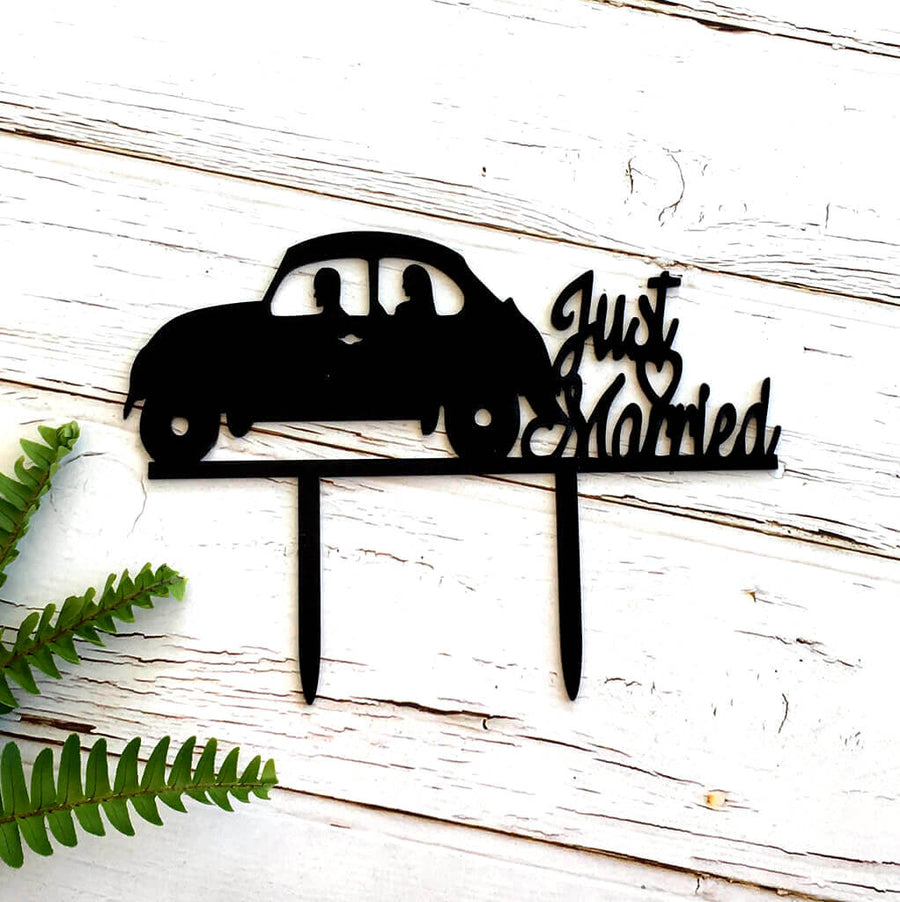 Black Acrylic 'Just Married' Wedding Car Cake Topper