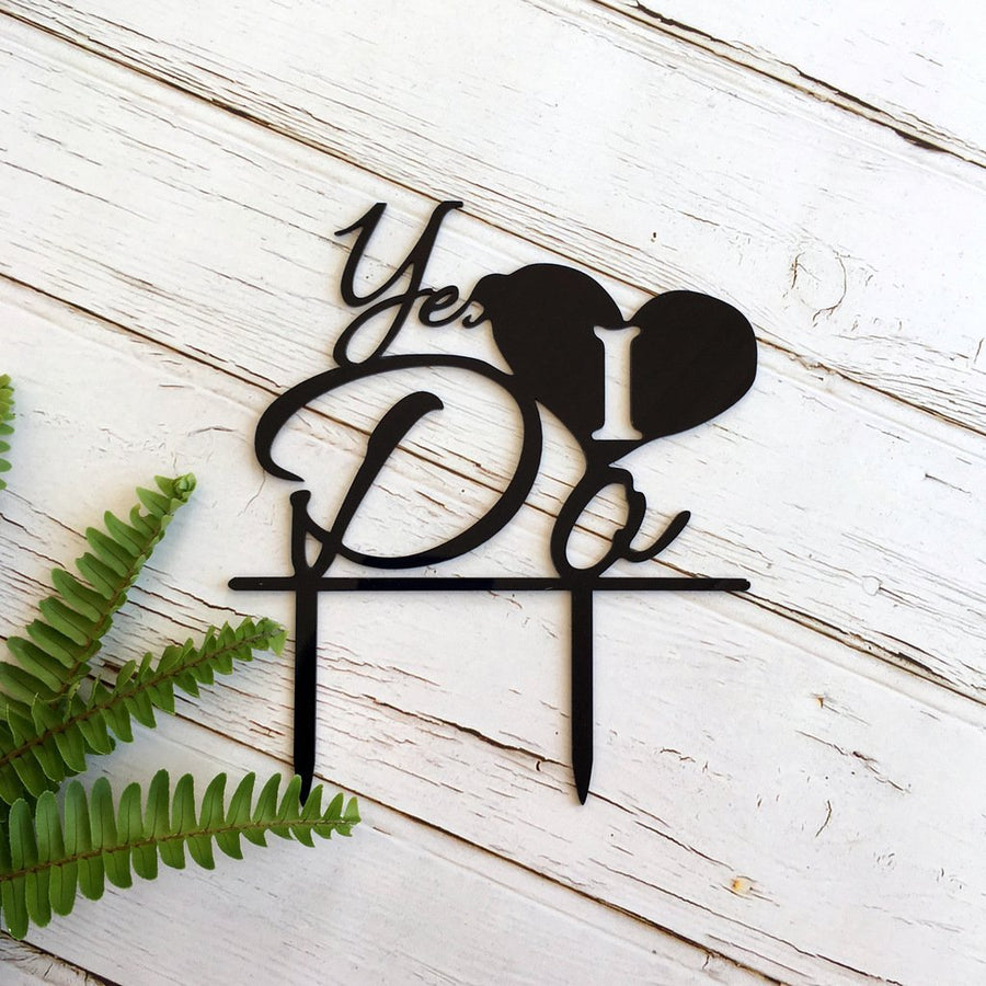Black Acrylic 'Yes I Do' Wedding Cake Topper - Online Party Supplies
