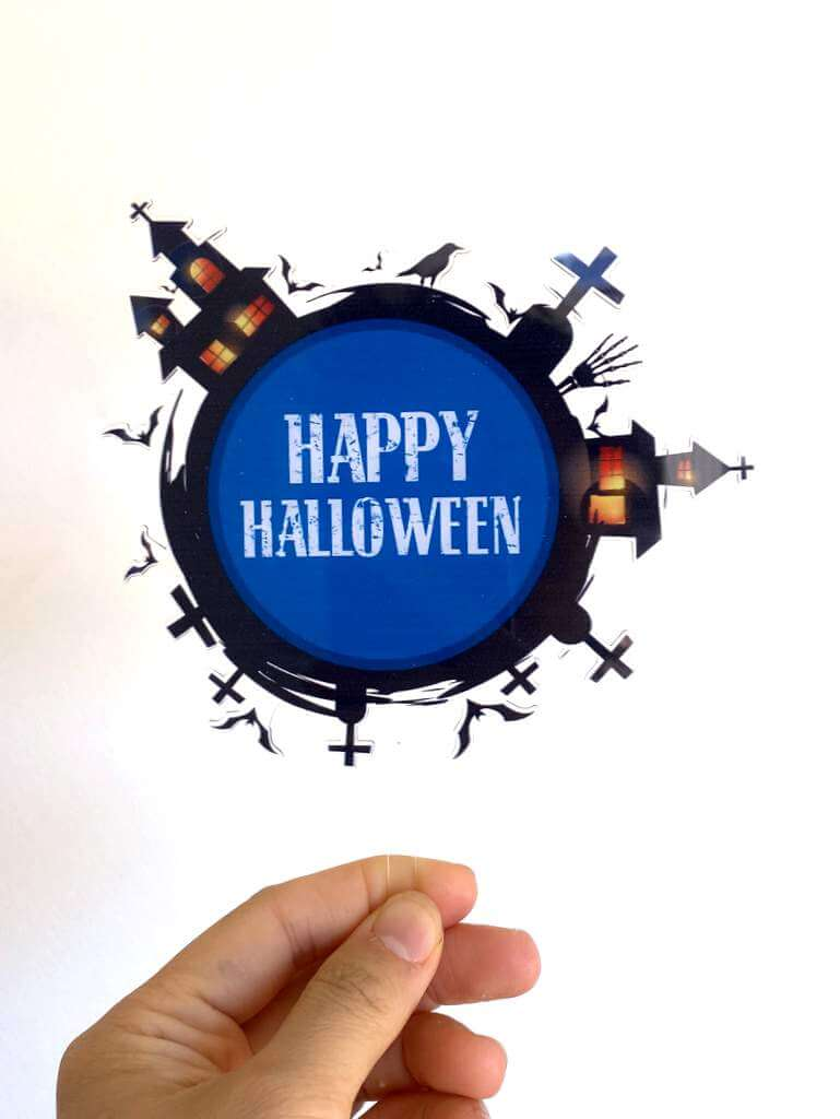 Acrylic Black & Blue Happy Halloween Graveyard Cake Topper