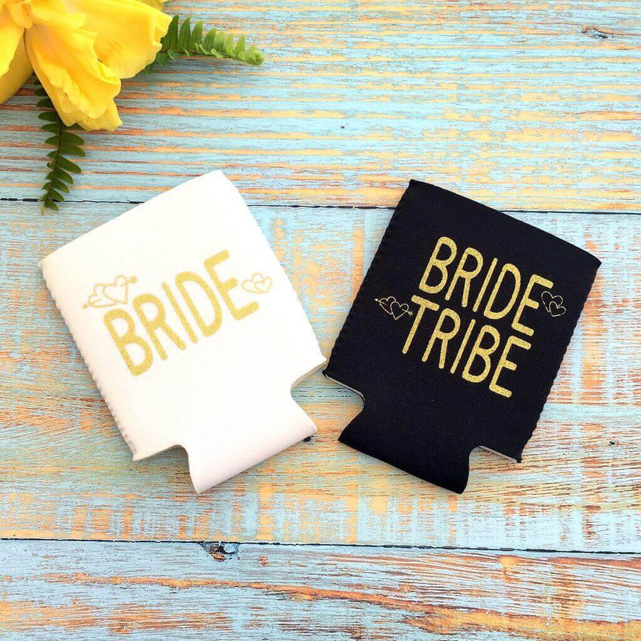 Online Party Supplies White Bride & Black Bride Tribe Gold Glitter Stubby Holder Pack