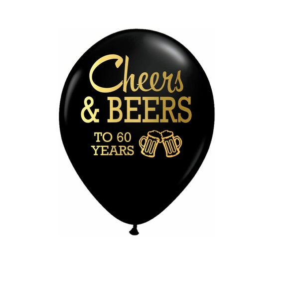 "10"" Cheers & Beers To 60 Years Black Latex Balloons"