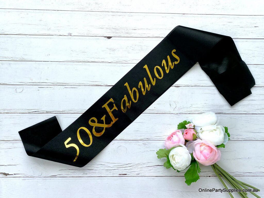 Gold Foil '50 & Fabulous' Black Satin Party Sash - Fiftieth 50th Birthday Party Decorations