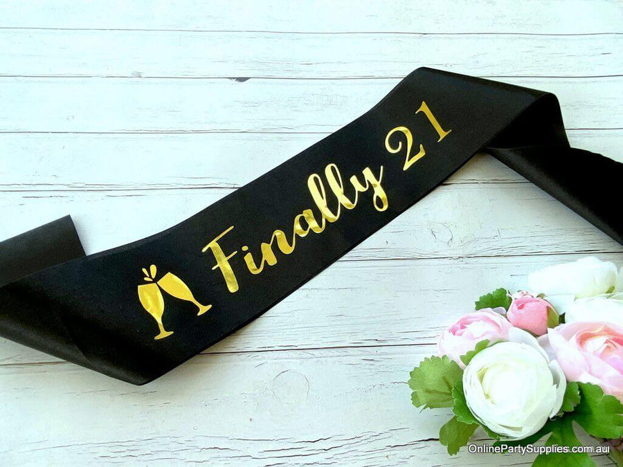Online Party Supplies Australia Black 'Finally 21' Happy 21st Birthday Satin Sash