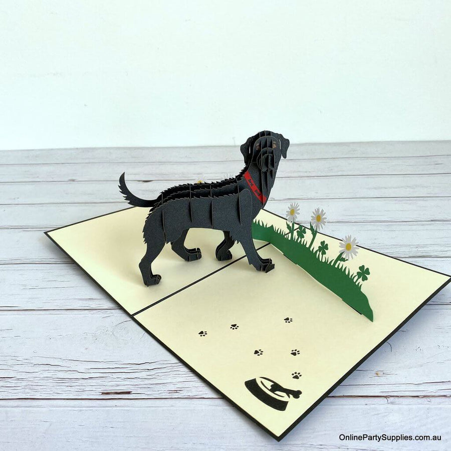 Handmade Black Labrador Dog in Daisy Garden 3D Pop Up Birthday Card