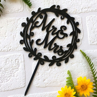 Black Acrylic Mr. and Mrs. Floral Wreath Wedding Cake Topper
