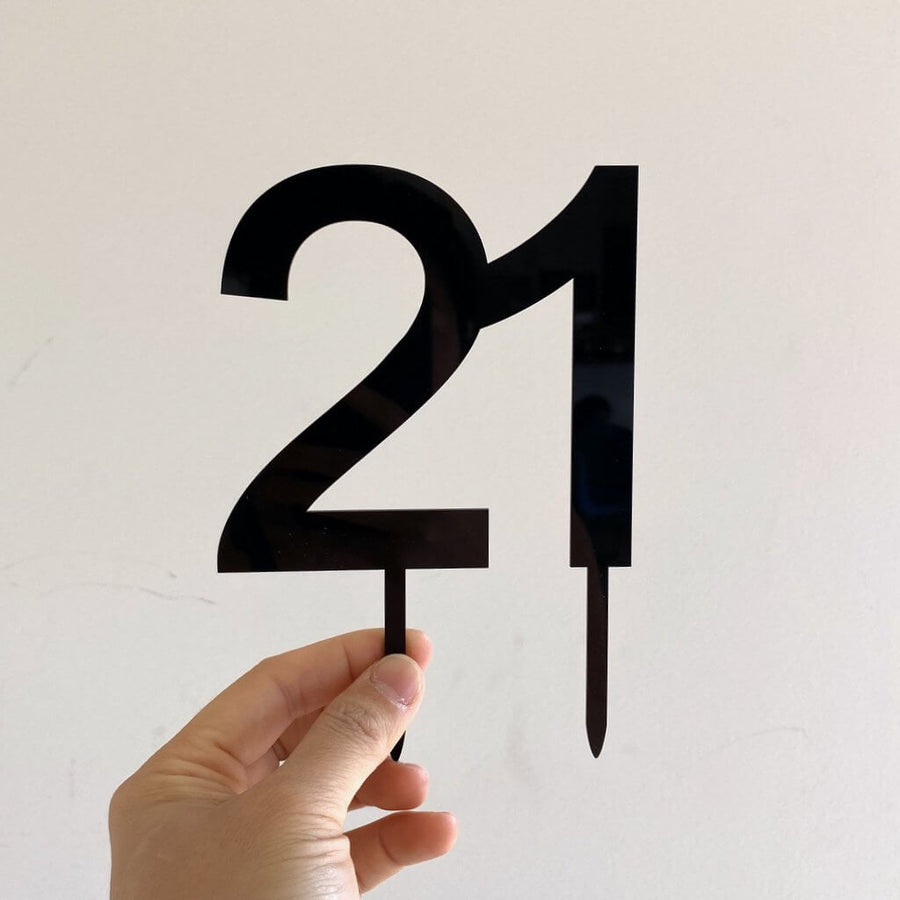 Acrylic Black Number 21 Cake Topper