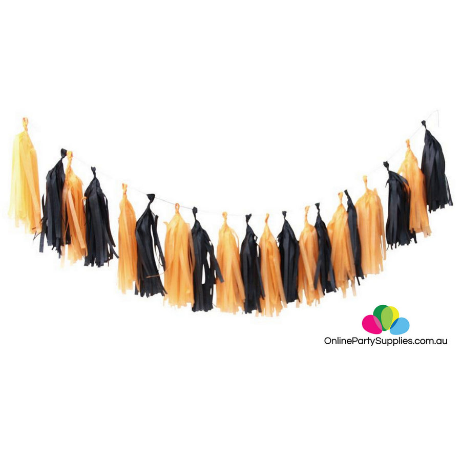Orange Black Tassel Garland for Halloween construction party decorations