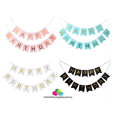 Black Pastel Pink Blue White Gold Foiled Happy Birthday Bunting Banner