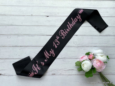 Black Pink Glitter Printed 'It's My 13th Birthday' Crown Satin Sash