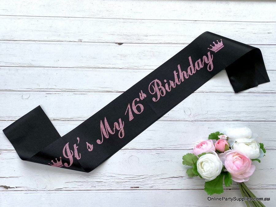 Black Pink Glitter Printed 'It's My 16th Birthday' Crown Satin Sash