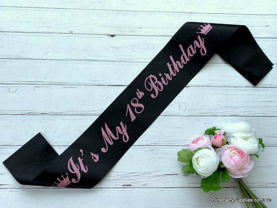 Black Pink Glitter Printed 'It's My 18th Birthday' Crown Satin Sash