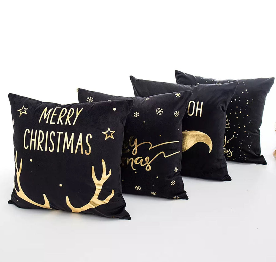 Black Velvet Cushion Covers with Bronze Decorative Christmas Patterns