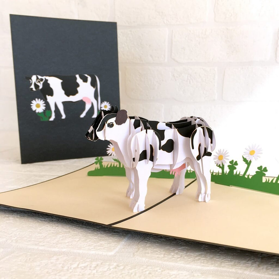Handmade Black & White Australian Milk Cow Pop Up Greeting Card - 3D Farm Animal Cards