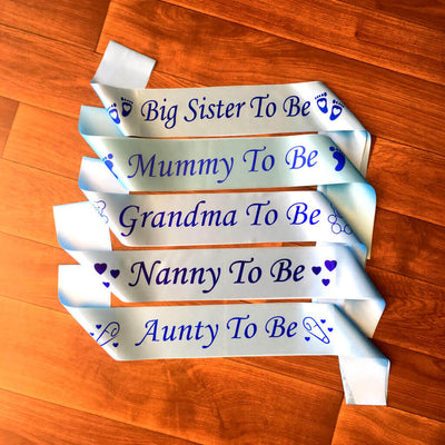 BLUE BABY SHOWER GENDER REVEAL MATERNITY SATIN SASH