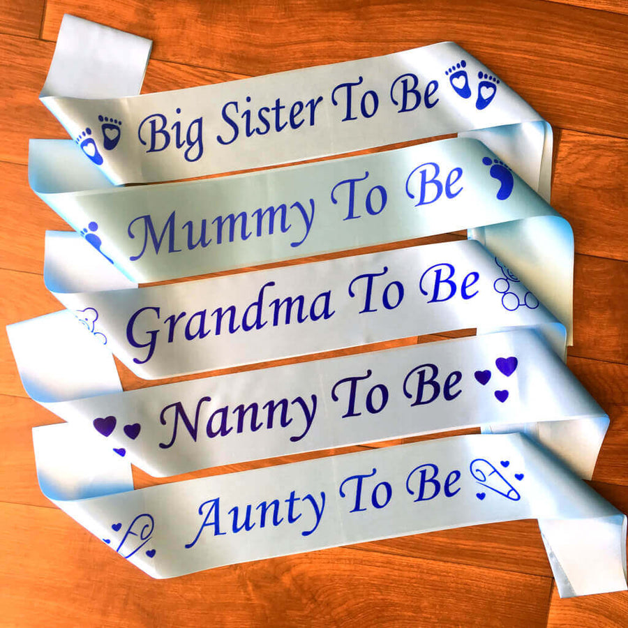 Blue Online Party Supplies Baby Shower Gender Reveal Maternity Satin Sash