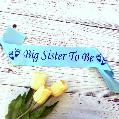 Baby Blue Big Sister To Be Baby Shower Satin Sash - Gender Reveal Party Decorations