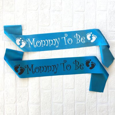 One Size Fits All Blue Online Party Supplies Mommy To Be with Footprints Baby Shower Satin Sash